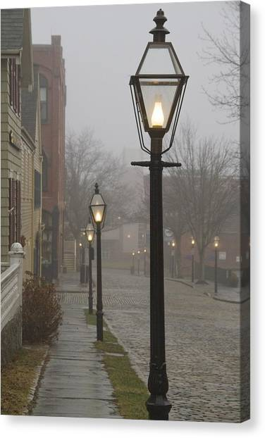 Street Lamps On Johnny Cake Hill Canvas Print