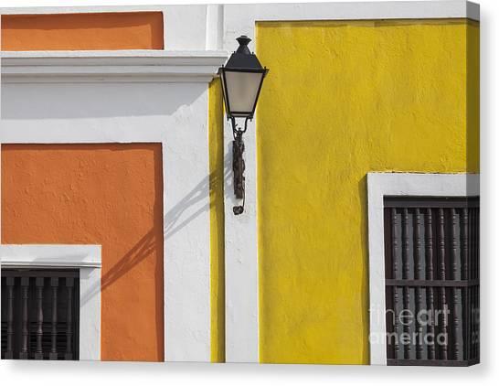 Canvas Print featuring the photograph Street Light In Old San Juan Streetlight Puerto Rico by Bryan Mullennix