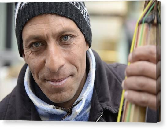 Street Musician - The Gypsy Bassist 2 Canvas Print