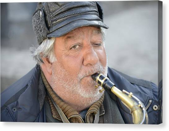 Street Musician - The Gypsy Saxophonist 1 Canvas Print