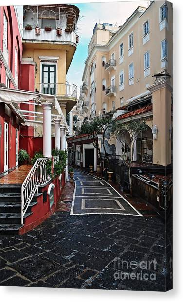 Street Of Capri Canvas Print