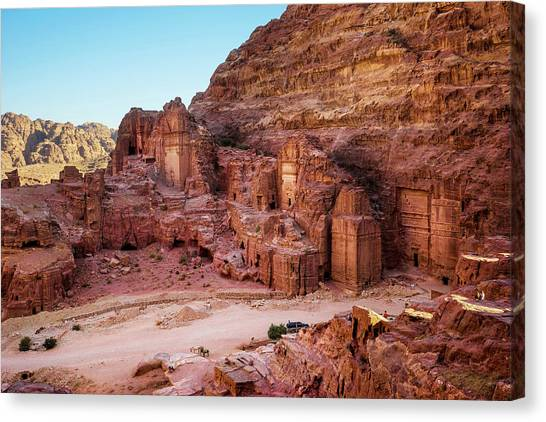 Arabian Desert Canvas Print - Street Of Tombs And Temple Facades by Leslie Parrott