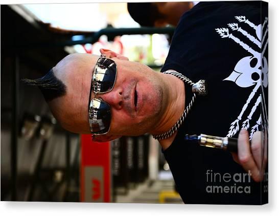 Street Performer Enjoying His Pipe Of Smoke 01 Canvas Print by Bobby Mandal