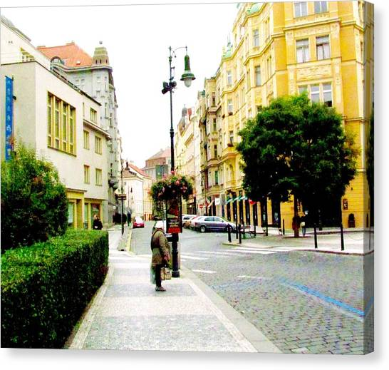 Prague Canvas Print - Street Scene Prague by Elaine Weiss