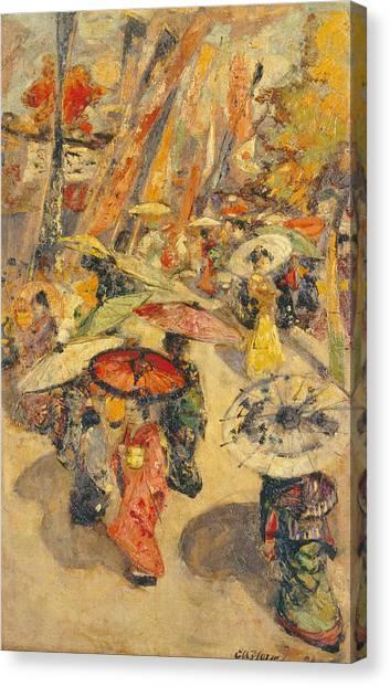 Japanese Umbrella Canvas Print - Street Scene.tokyo by Edward Atkinson Hornel