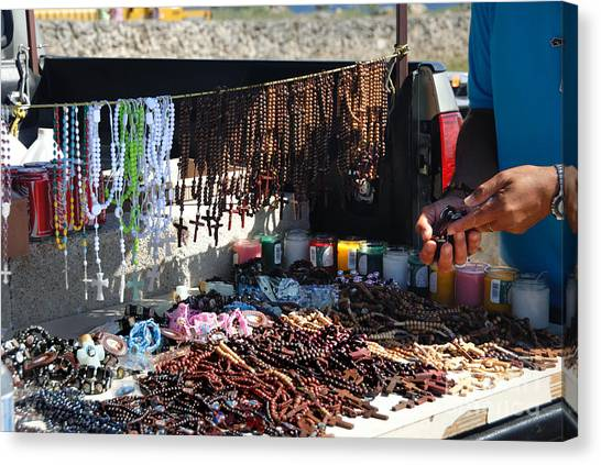 Rosaries Canvas Print - Street Vendor Selling Rosaries by Amy Cicconi