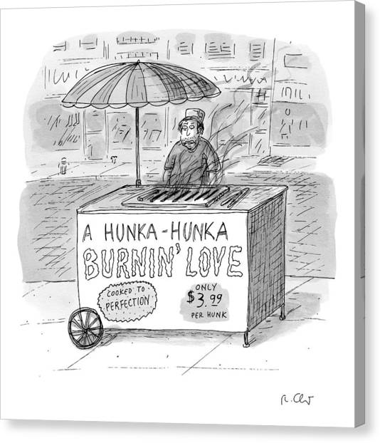 Hot Dogs Canvas Print - Street Vendor Stands Behind His Cart by Roz Chast