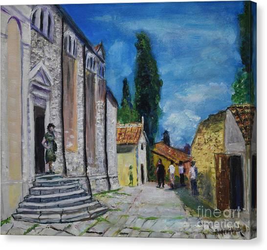 Street View In Rovinj Canvas Print