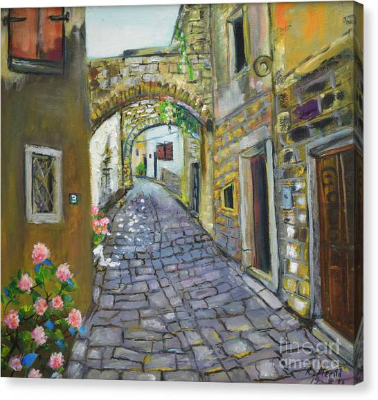 Street View In Pula Canvas Print