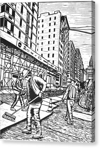Street Work In New York Canvas Print