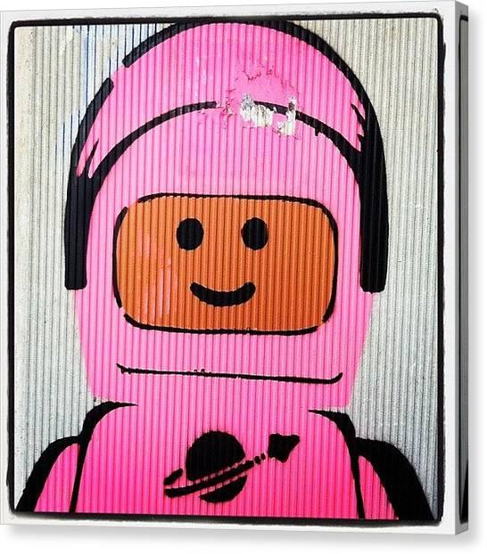 Astronauts Canvas Print - #streetart #leuven #vaart #lego by Reginald Doms