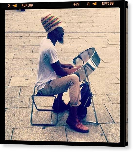Jamaican Canvas Print - #streetart #streetmusician #music by Laura  Teodora