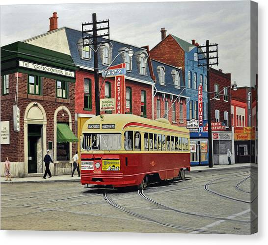 Streetcar On Queen Street 1963 Canvas Print