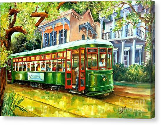 New Orleans Canvas Print - Streetcar On St.charles Avenue by Diane Millsap