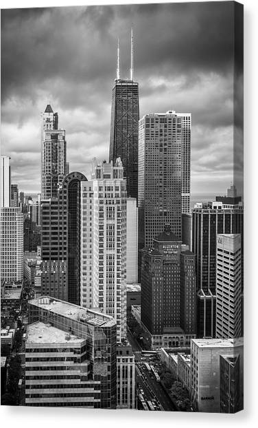 Hancock Building Canvas Print - Streeterville From Above Black And White by Adam Romanowicz