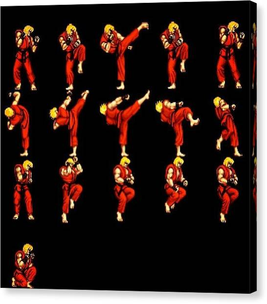Sprite Canvas Print - #streetfighter #sprites In #action by Katie Ball