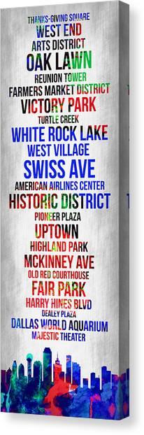 Dallas Canvas Print - Streets Of Dallas 1 by Naxart Studio