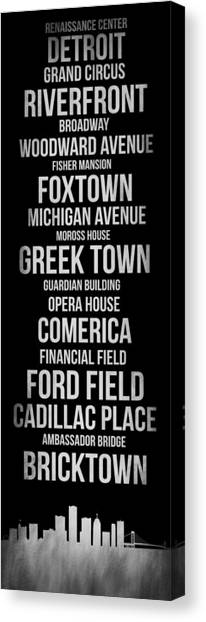 Michigan Canvas Print - Streets Of Detroit 2 by Naxart Studio