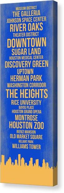 Houston Skyline Canvas Print - Streets Of Houston 3 by Naxart Studio