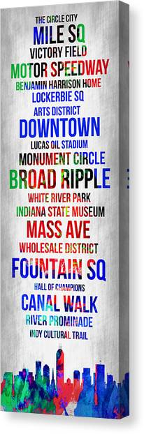 Indianapolis Canvas Print - Streets Of Indianapolis 1 by Naxart Studio