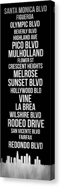 Los Angeles Canvas Print - Streets Of Los Angeles 2 by Naxart Studio