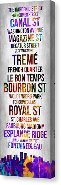 New Orleans Canvas Print - Streets Of New Orleans 1 by Naxart Studio