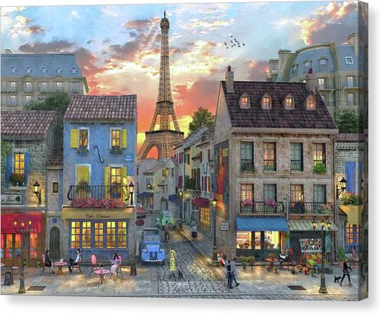 Poodles Canvas Print - Streets Of Paris by Dominic Davison