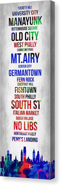 Pennsylvania Canvas Print - Streets Of Philadelphia 1 by Naxart Studio