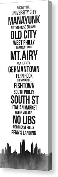 Pennsylvania Canvas Print - Streets Of Philadelphia 3 by Naxart Studio