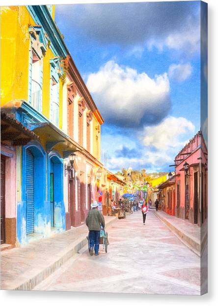 Canvas Print featuring the photograph Streets Of San Cristobal De Las Casas - Colorful Mexico by Mark E Tisdale