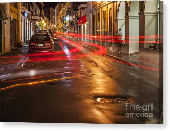 Canvas Print featuring the photograph Streetscene At Night In Old San Juan Puerto Rico by Bryan Mullennix