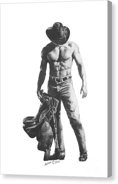 Strength Of A Cowboy Canvas Print