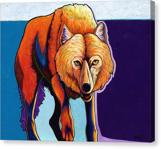 Strictly Business - Arctic Wolf Canvas Print by Joe  Triano