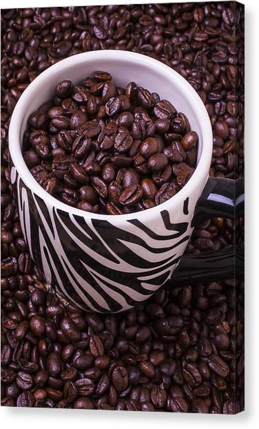 Coffee Beans Canvas Print - Striped Coffee Cup by Garry Gay