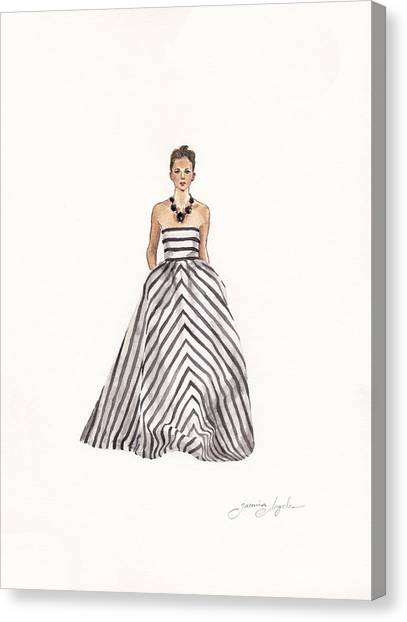 Fashion Illustrations Canvas Print - Striped Glamour by Jazmin Angeles