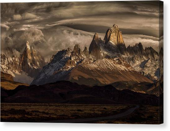 Mountain Ranges Canvas Print - Striped Sky Over The Patagonia Spikes by Peter Svoboda, Mqep