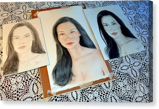 Lucy Liu Canvas Print - Striving To Improve On My Drawing Of Lucy Liu  by Jim Fitzpatrick
