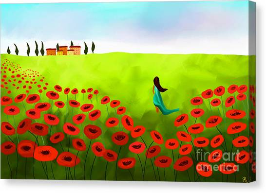 Strolling Among The Red Poppies Canvas Print