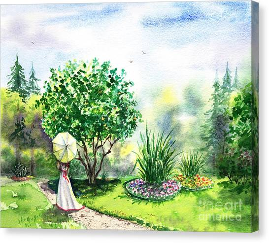 Orange Tree Canvas Print - Strolling In The Garden by Irina Sztukowski
