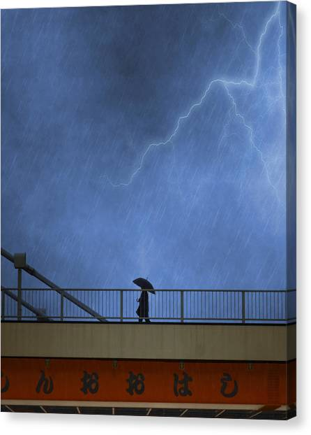 Rain Canvas Print - Strolling In The Rain by Juli Scalzi