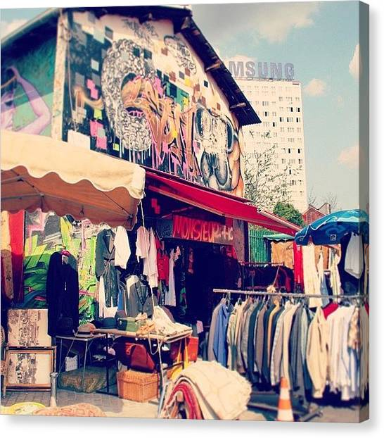 Fleas Canvas Print - #strolling Thru The #flea #markets In by Michelle Aros