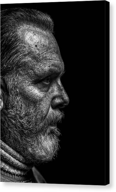 Strong B&w Portrait Of A Rugged Looking Canvas Print by Cmannphoto