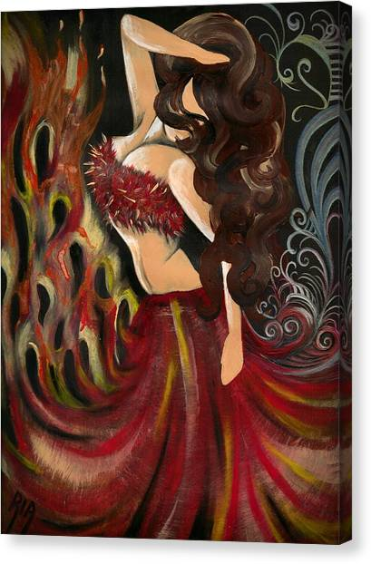 Fire Canvas Print - Strong Femininity by Artist RiA