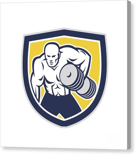 Strongman Lifting Dumbbells Front Shield Retro Canvas Print by Aloysius Patrimonio