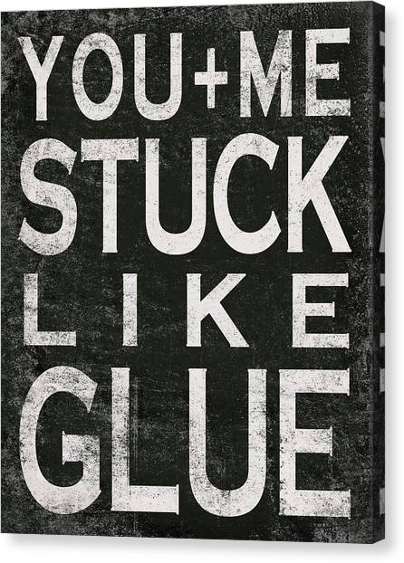 Marriage Canvas Print - Stuck Like Glue - Black by Misty Diller