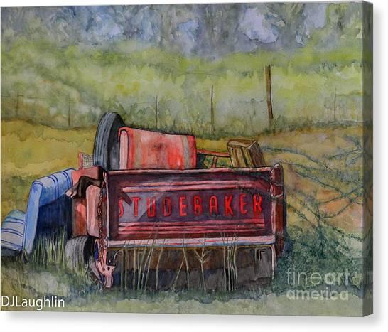 Studebaker Truck Tailgate Canvas Print by DJ Laughlin