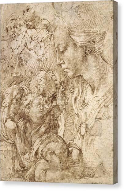 Michelangelo Simoni Canvas Print - Studies For A Holy Family by Michelangelo Buonarroti