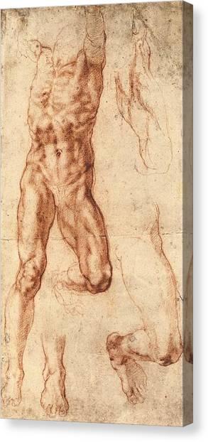 Michelangelo Simoni Canvas Print - Studies For Haman by Michelangelo Buonarroti