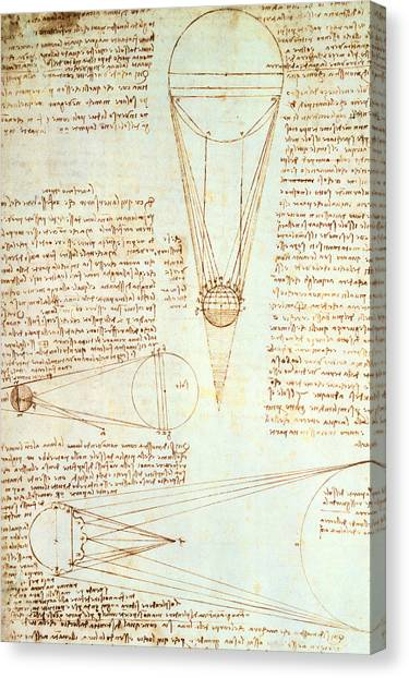 Pen And Ink Drawing Canvas Print - Studies Of The Illumination Of The Moon by Leonardo Da Vinci