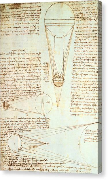 Academic Art Canvas Print - Studies Of The Illumination Of The Moon by Leonardo Da Vinci